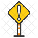 Road Exclamation Sign Icon