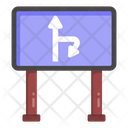 Right Turn Ahead Road Direction Traffic Board Icon