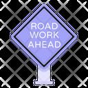 Road Work Ahead Road Post Traffic Board Icon