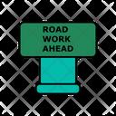 Road Work Ahead Board Icon