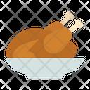 Roasted Chicken Turkey Roast Grilled Food Icon
