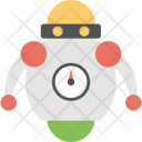 Robot With Speedometer Icon