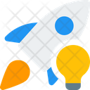 Rocket And Lamp Startup Idea Startup Icon