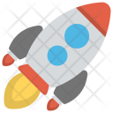 Rocket Launch Icon in Flat Style