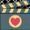 Romance Scene Clapper Heart On Clapboard Icon