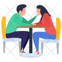 Couple Dating Romantic Date Table Talk Icon