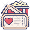 Romantic Movie Ticket Icon
