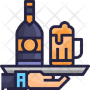 Room Service Service Tray Beer Icon