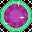 Gemstone Round Amethyst Emerald Icon