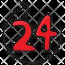 Round The Clock 24 Hour Clockwise Arrow Icon