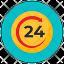 Round The Clock 24 Hours Clockwise Arrow Icon