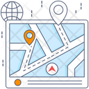 Route Pathway Map Pin Icon