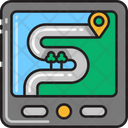 Route Map S Shape Road Country Side Icon