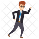 Running Businessman Late Icon