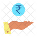 Irupees Hand Rupee In Hand Business Profit Icon