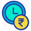 Clock Time Rupees Icon