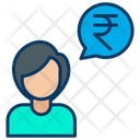 Rupees Conversation Businesswoman Communication Icon