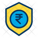 Rupees Shield Secure Money Icon