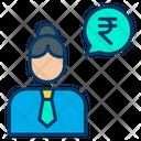 Rupees Woman Conversation Woman Businesswoman Icon
