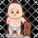 Sad Child And Teddy Icon