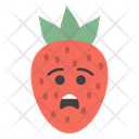 Sad Strawberry Face Fruity Berry Icon
