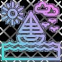 Sea Sailboat Beach Icon