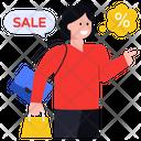 Shopping Girl Sale Sale Shopping Icon