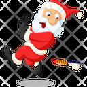 Santa Afraid Of Rocket Icon