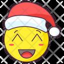 Santa Blush Emoji Santa Beaming Expression Emotag Icon