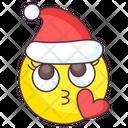 Santa Kiss Emoji Love Kiss Expression Emotag Icon