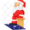 Santa On The Roof Icon