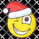 Santa Wink Emoji Icon