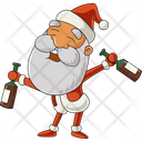 Santa With Beer Bottle Icon