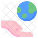 World Globe Grid Hand Icon