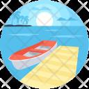 Scenery River Boat Icon