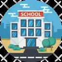 School Building Chalkboard Icon