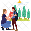 School Going Outdoor Walking Family Time Icon