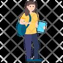 School Going Girl School Student Female Student Icon