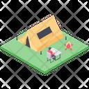 School Picnic Camp Camping Campsite Icon