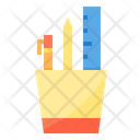 School Supply Stationery Pencil Holder Icon