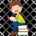 Schoolboy Sitting Icon