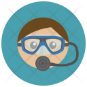 Diver Scuba Glass Icon