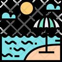 Sea Beach Umbrella Icon