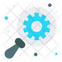 Find Gear Magnifying Glass Icon