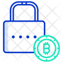 Lock Bitcoin Secure Bitcoin Protected Bitcoin Icon