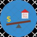 Seesaw House Dollar Icon