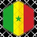 Senegal Flag Hexagon Icon