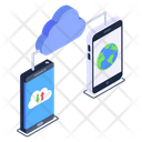 Shared Database Mobile Cloud Global Data Storage Icon