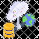 World Database Global Cloud Global Data Storage Icon