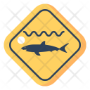 Shark Warning Vacation Icon